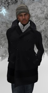 Peacoat and knit Cap